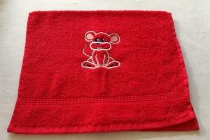 kuschelweiches Handtuch  bestickt mit kleinen Tieren, Blickfang für jedes Bad, reine Baumwolle,rot mit einer Maus - Handarbeit kaufen
