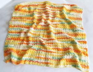Babydecke zum Kuscheln, mit aufwendigem Muster gehäkelt, gelb-orange-bunt,Schmusedecke, weiche Tagesdecke für Babys - Handarbeit kaufen