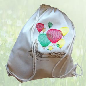 leichter Baumwoll-Rucksack mit bestickten Ballon - Motiv,  - Handarbeit kaufen