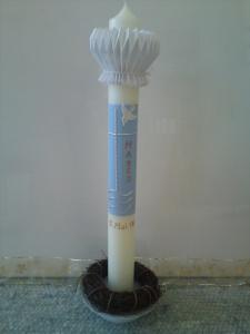 Taufkerze in klassischer Art mit Kreuz, Taube und Wassermotiv - Handarbeit kaufen