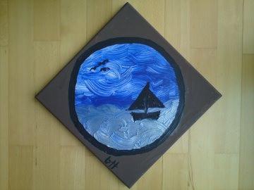 Acrylgemälde mit Meeresmotiv Ausblick mit Segelboot - Handarbeit kaufen