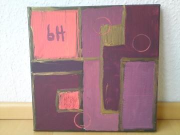 Acrylgemälde mit geometrischen Formen wie Quadraten und einigen Kreisen, signiert - Handarbeit kaufen