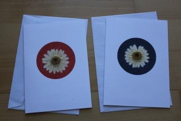 Grußkarten, verziert mit Margeriten und Sand in rot und blau - Handarbeit kaufen