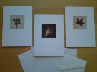 Herbstliche Grußkarten mit gepressten Pflanzen und Sand, Sandkarten kaufen - Handarbeit kaufen