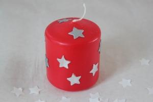 Kleine aber feine Kerzen mit Sternen, Winter, rot und gelb