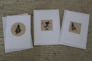 Sandkarten, Grußkarten mit Pflanzenteilen im 3er Set, mit Umschlägen, klein, aber fein - Handarbeit kaufen