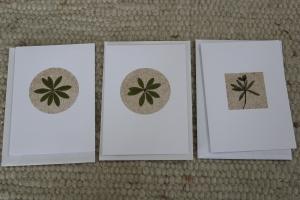 Sandkarten, Grußkarten mit Waldmeister und Duft, 3er Set mit Umschlägen - Handarbeit kaufen