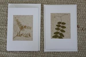 Sandkarten, Grußkarten mit getrockneten Pflanzenteilen, weiß, 2er Set - Handarbeit kaufen