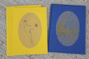 Sandkarten, Grußkarten, blau und gelb, 2er Set, mit Umschlägen - Handarbeit kaufen