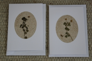 Sandkarten, Grußkarten weiß mit Umschlägen und Pflanzen, 2er Set - Handarbeit kaufen