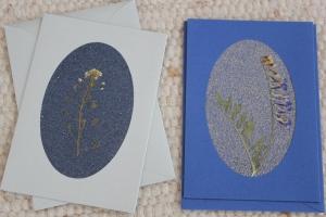 Sandkarten, Grußkarten, Silber und Blau, 2er Set, mit Umschlägen - Handarbeit kaufen
