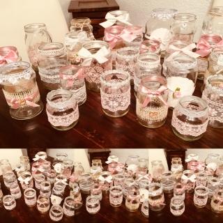 25 Teiliges Vintage Hochzeitsdekoset Rosa Vasen Teelichthalter