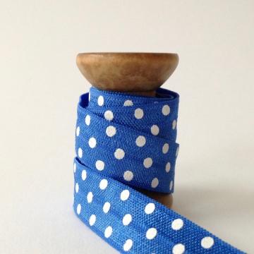 Elastisches Gummiband mit Faltkante, Falzgummi, Einfassband, Armcandy, Haargummi, Polka Dots Blue