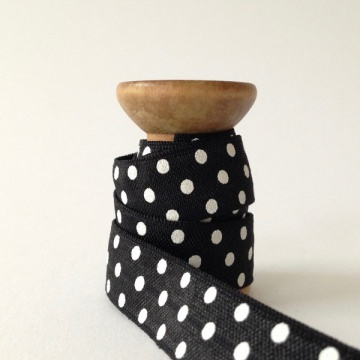 Elastisches Gummiband mit Faltkante, Falzgummi, Einfassband, Armcandy, Haargummi, Polka Dots Black