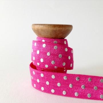 Elastisches Gummiband mit Faltkante, Falzgummi, Einfassband, Armcandy, Haargummi, Pünktchen Pink