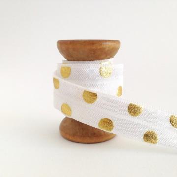 Elastisches Gummiband mit Faltkante, Falzgummi, Einfassband, Armcandy, Haargummi, Big  Dots white