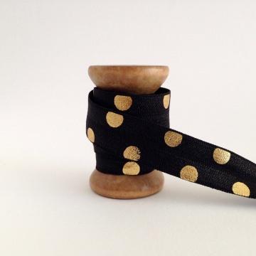 Elastisches Gummiband mit Faltkante, Falzgummi, Einfassband, Armcandy, Haargummi, Big  Dots black