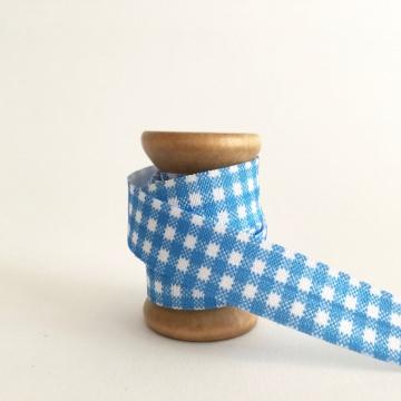 Elastisches Gummiband mit Faltkante, Falzgummi, Einfassband, Armcandy, Haargummi, Karo Blau