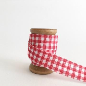 Elastisches Gummiband mit Faltkante, Falzgummi, Einfassband, Armcandy, Haargummi, Karo Rot