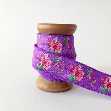 Elastisches Gummiband mit Faltkante, Falzgummi, Einfassband, Armcandy, Haargummi, Wild Rose