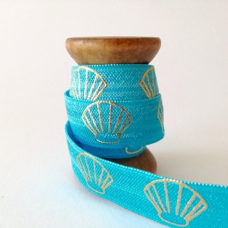 Elastisches Gummiband mit Faltkante, Falzgummi, Einfassband, Armcandy, Haargummi, Shell turquoise