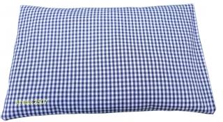 Zirbenkissen 30 x 20 cm mit Inlett und abnehmbaren Bezug blau/weiß