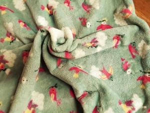 Kuscheldecke Fleecedecke Babydecke Wellness Fleece Vögel  - Handarbeit kaufen