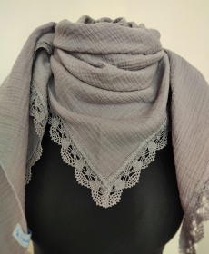 Dreieckstuch Damen Halstuch Schultertuch Baumwolle Spitze Musselin Stoff Doppel Gauze grau - Handarbeit kaufen
