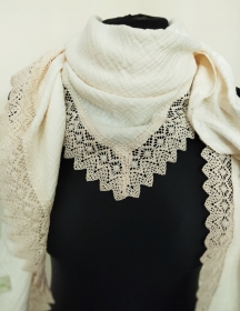 Dreieckstuch Damen Halstuch Schultertuch Baumwolle Spitze Musselin Stoff Doppel Gauze creme - Handarbeit kaufen