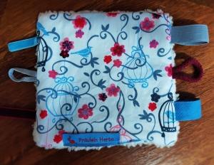 Knistertuch Fummeltuch Schmusetuch Babyspielzeug Blumen Vögel blau grau rosa rot - Handarbeit kaufen