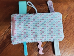 Knistertuch Fummeltuch Schmusetuch Babyspielzeug Schmetterlinge pastell - Handarbeit kaufen