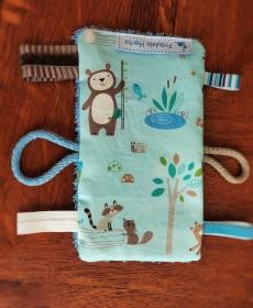 Knistertuch Fummeltuch Schmusetuch Babyspielzeug Waldtiere blau - Handarbeit kaufen