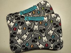 Set Spülschwamm Spültuch Putzschwamm grau bunt Hund Knochen Ball - Handarbeit kaufen