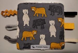 Knistertuch Spieltuch Fummeltuch Babyspielzeug Greifling Bären grau - Handarbeit kaufen