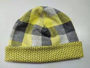 Mütze Beanie Wendemütze Kinder Baby Biobaumwolle Karo gelb grau 6-12 Monate Albstoffe - Handarbeit kaufen