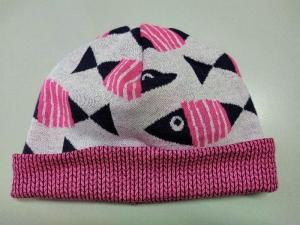 Mütze Beanie Wendemütze Kinder Baby Biobaumwolle Fische pink 1-2 Jahre Albstoffe - Handarbeit kaufen