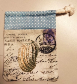 Murmelbeutel Geschenkbeutel Muschelbeutel Schmuckbeutel Muschel Briefmarke - Handarbeit kaufen