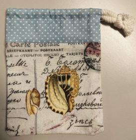 Murmelbeutel Geschenkbeutel Muschelbeutel Schmuckbeutel Muschel Postkarte - Handarbeit kaufen