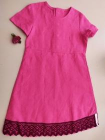 Kinderkleid Leinen Spitze pink weinrot Sommerkleid Größe 116 - Handarbeit kaufen