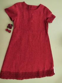 Kinderkleid Leinen Spitze erika weinrot Sommerkleid Größe 116 - Handarbeit kaufen