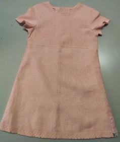 Kinderkleid Leinen Spitze rosa zartrosa Sommerkleid Größe 104 - Handarbeit kaufen