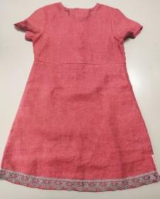 Kinderkleid Leinen Spitze pink grau Sommerkleid Größe 110