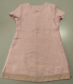 Kinderkleid Leinen Spitze rosa zartrosa Sommerkleid Größe 92