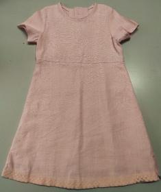 Kinderkleid Leinen Spitze rosa zartrosa Sommerkleid Größe 110