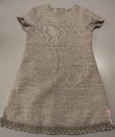 Kinderkleid Leinen Spitze leinenfarben natur Sommerkleid Größe 104
