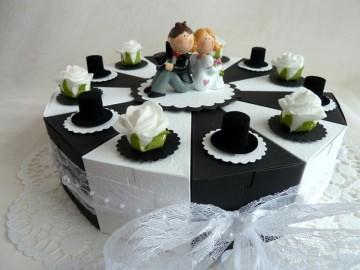 ♥Große Schachteltorte zur Hochzeit Geldgeschenk in  SCHWARZ-WEIß♥