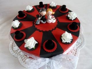 ♥Große Schachteltorte zur Hochzeit Geldgeschenk in  Rot/Schwarz♥ *von IdeenOase* - Handarbeit kaufen