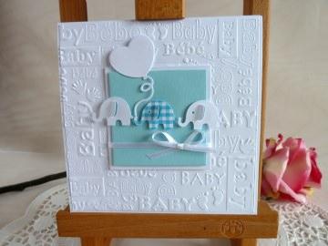 Karte zur Geburt/Taufe für einen Jungen in hellblau/weiß *von IdeenOase*
