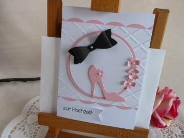 Glückwunschkarte zur Hochzeit in weiß/rosa/schwarz *von IdeenOase* - Handarbeit kaufen
