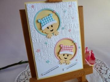 Karte zur Geburt/Taufe für ein Zwillingspärchen *von IdeenOase* - Handarbeit kaufen